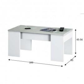 Tavolino Da Salotto Con Piano Elevabile 50x100x45 Cm Cemento E Bianco
