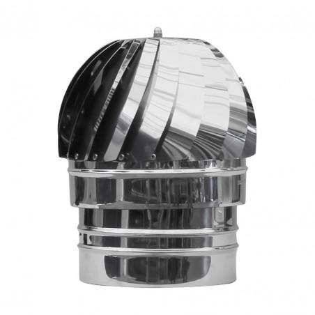 Comignolo eolico girevole in acciaio inox AISI 304 per canna fumaria