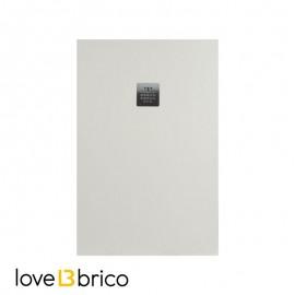 Piatto doccia in mineralmarmo 80x100 cm beige effetto pietra con griglia e piletta sifonata Jonathan