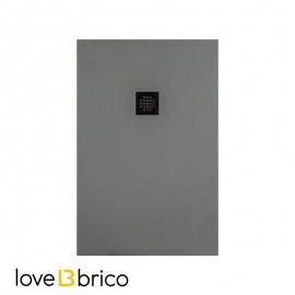 Piatto doccia in mineralmarmo 80x100 cm grigio chiaro effetto pietra con griglia e piletta sifonata Jonathan
