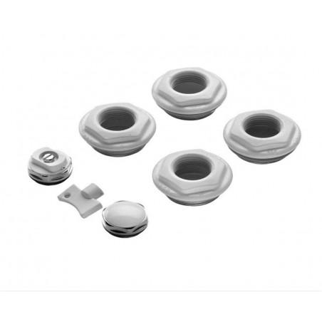 Kit blister per radiatori in acciaio con riduzioni verniciate bombé 3/8'', tappino cieco e valvola di sfiato Ercos SK3/8 bianco