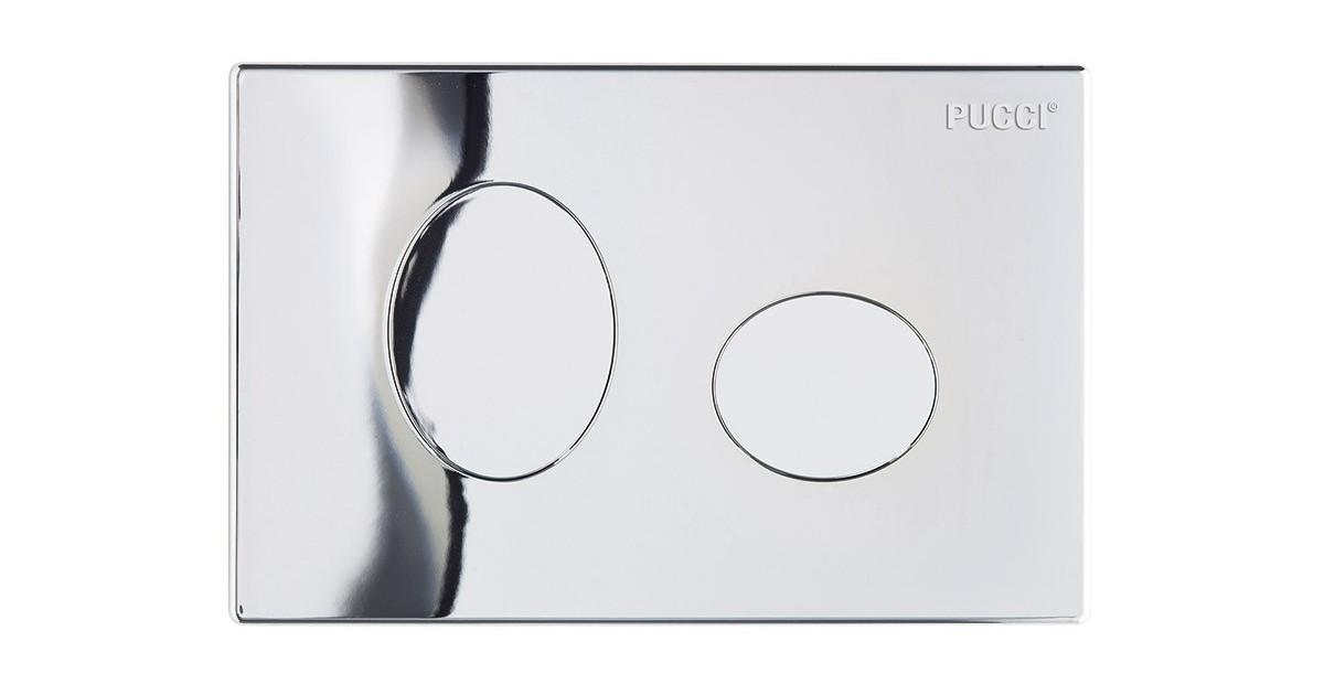 Placca ellisse cromata 2 pulsanti per cassetta incasso Pucci Eco 80130552