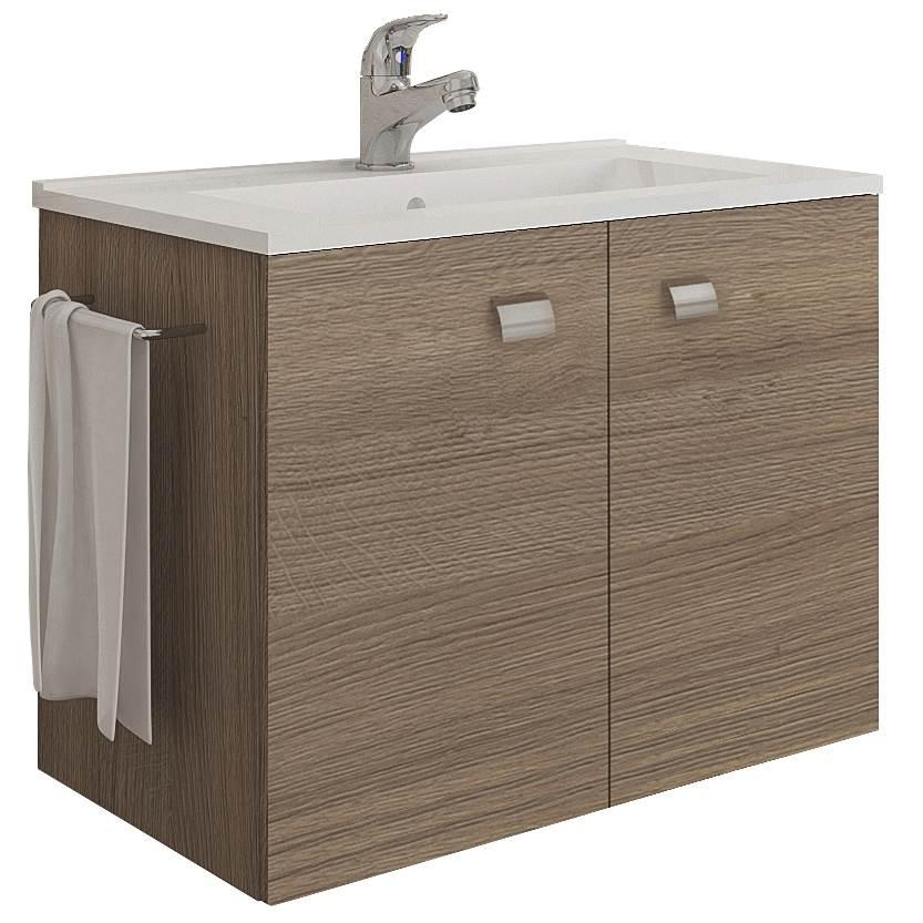 Lavabo Ad Angolo Con Mobiletto.Mobile Bagno Sospeso 60 Cm Con Lavabo E Portasalviette Rovere Fumo