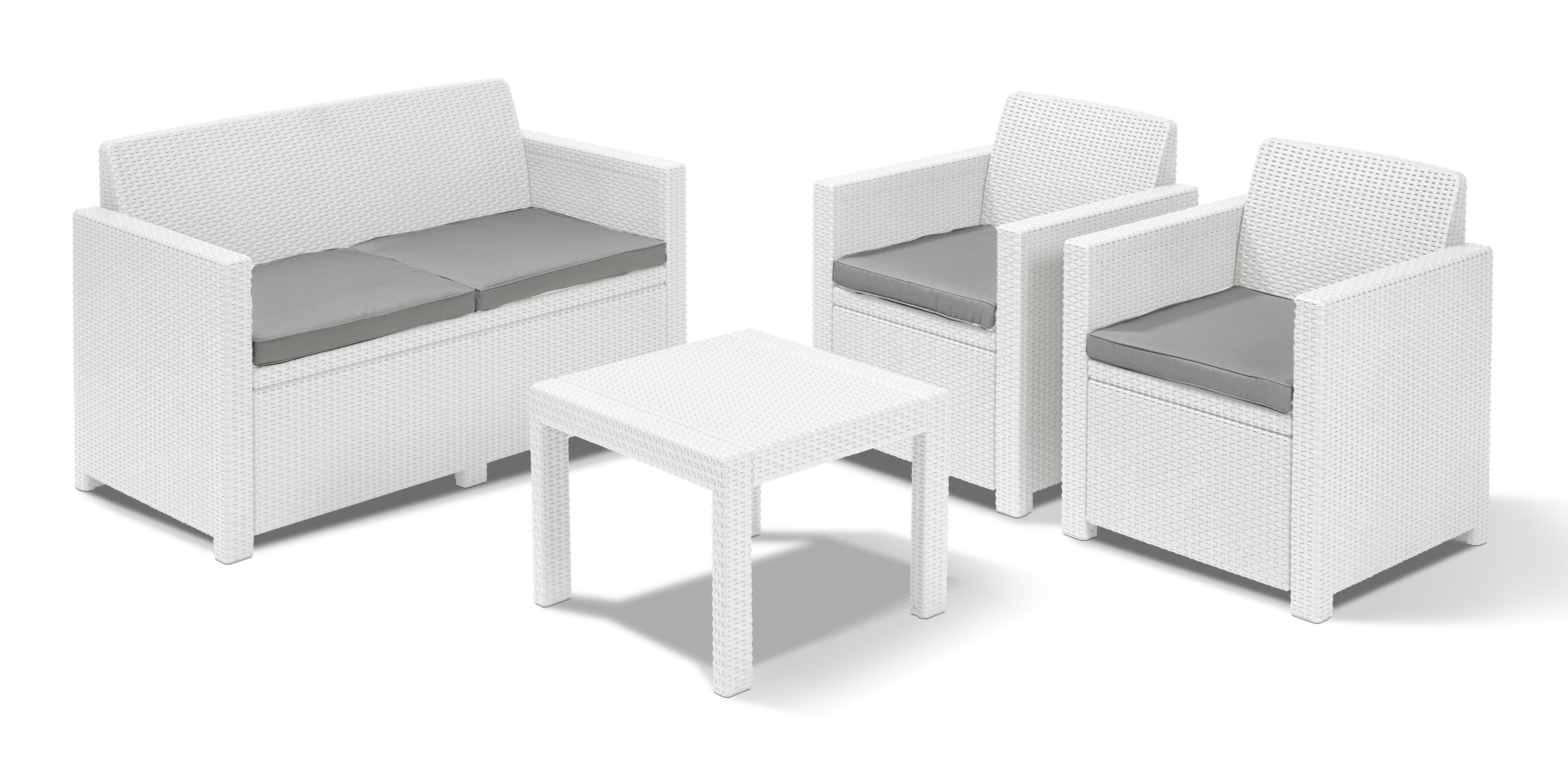 Salottino da giardino bianco 2 poltrone tavolino salotto da esterno simil rattan